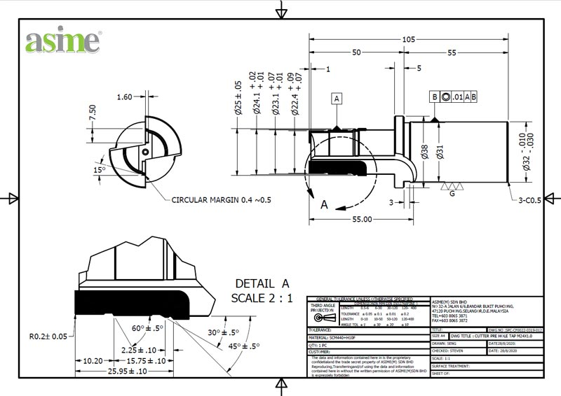 pcd cutterpre hole custom drawing asime