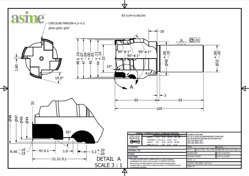 pcd step reamer pre tap hole custom drawing asime