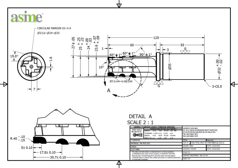pcd tip step prehole custom drawing asime